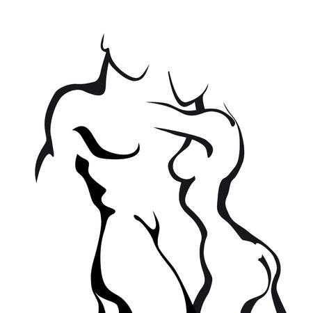 cuerpos desnudos: Pareja boceto abstracto en el amor. Mujer y hombre cuerpo.