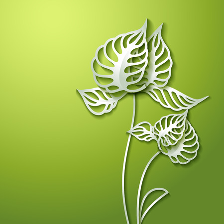 cut paper: Abstract green background with 3D Paper Flowers