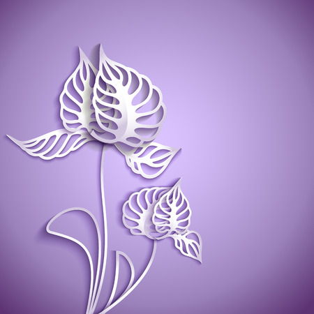 purple background: Abstract purple background with 3D Paper Gray Flowers Illustration