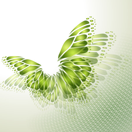 green butterfly: Abstract green background with butterfly wings