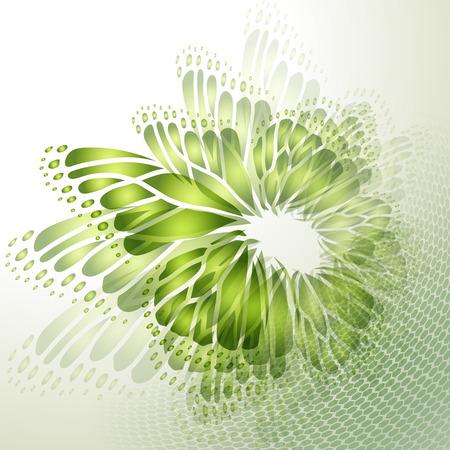 蝶の羽と抽象的な緑背景