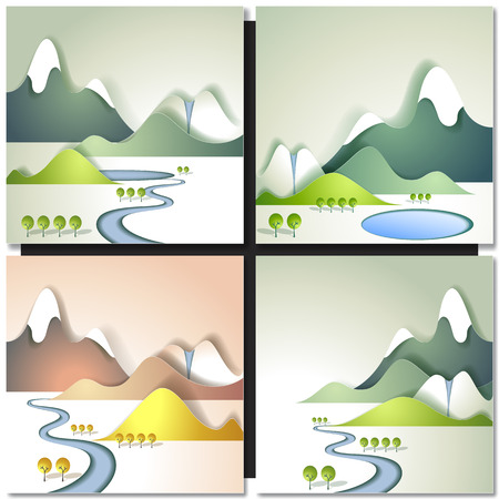 flowing river: Snow Mountain and River Flowing in a Valley. Paper design background Illustration