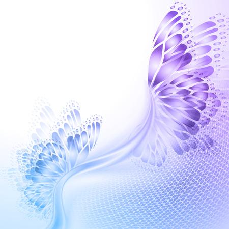 Abstract wave blauwe paarse achtergrond met vlindervleugels Stock Illustratie