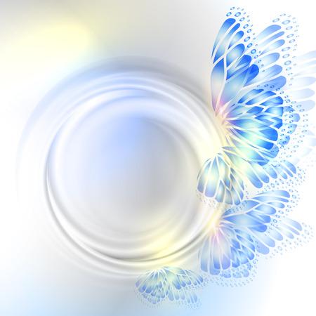 부드러운 투명 원과 나비와 배경 일러스트