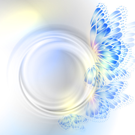 Background with soft transparent circle and butterfly