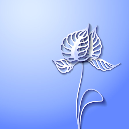 cut flowers: Abstract blue background with 3D Paper Gray Flowers Illustration