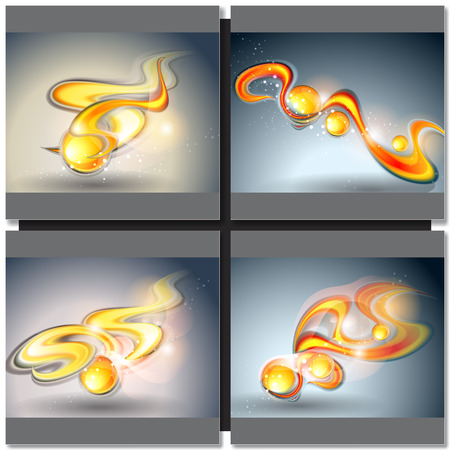 golden ball: Set of abstract vector backgrounds with golden ball