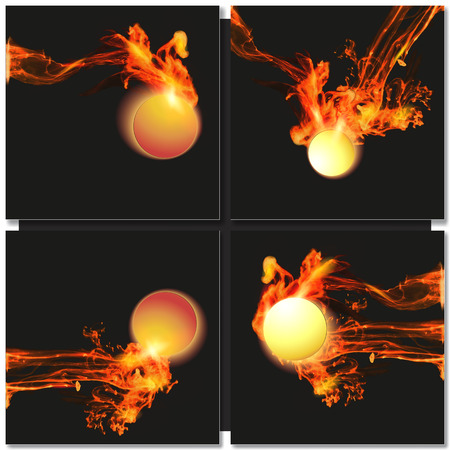 fire ball: Abstract dark background with fire ball