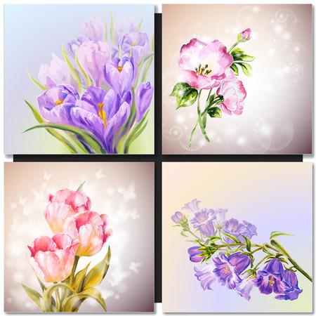 landscape flowers: Vector floral background Oil painting Flowers