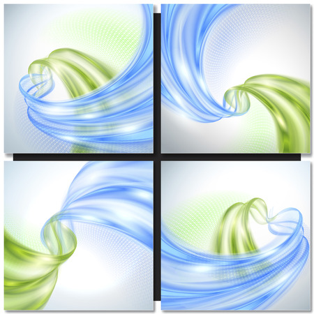 white color: Abstract green and blue wave background with design element