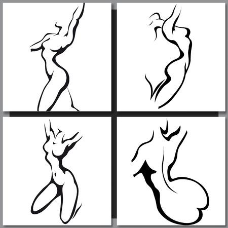 mujer desnuda de espalda: Bosquejo de la mujer el estilo de tinta torso Vectores
