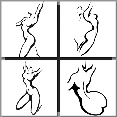 corps femme nue: Croquis de la femme de style d'encre du torse
