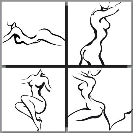 beaux seins: Croquis de la femme de style d'encre du torse