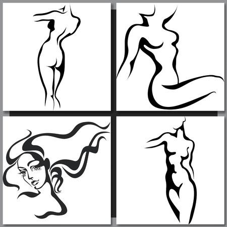 femme noire nue: Croquis de la femme de style d'encre du torse
