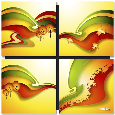 autum: Autum Leaf Vector in Red, Orange and Green on a Yellow Background Illustration