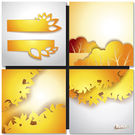 Autum Yellow Leaf Vector Background