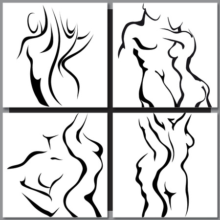 nude black woman: Abstract sketch of couple man and woman