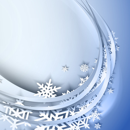 winter season: Abstract blue background with circle and snowflakes Illustration