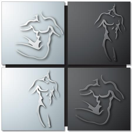 nudity: Man torso on gray background Illustration