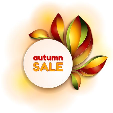 autumn leaf frame: Orange and red color leaves design template for sale Illustration