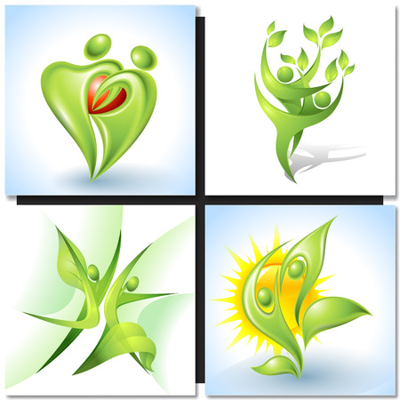 green plants: Eco-icon with green dancers and plants Illustration