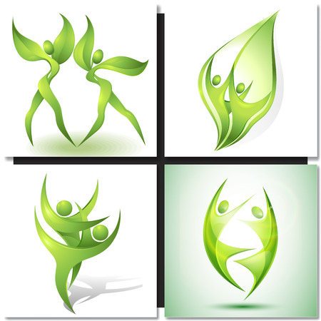 eco icon: Eco-icon with green dancers and plants Illustration