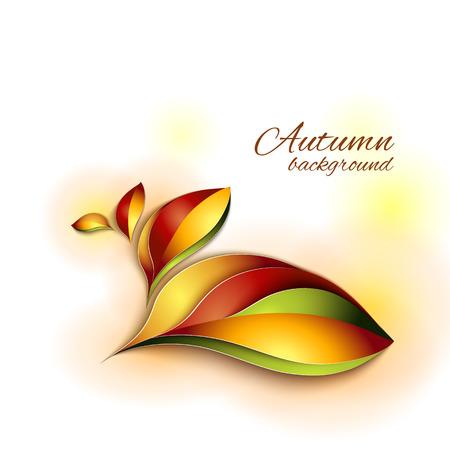 Herbst abstrakten Vektor Hintergrund. Orange und rote Farbe Blätter. Papier-Design