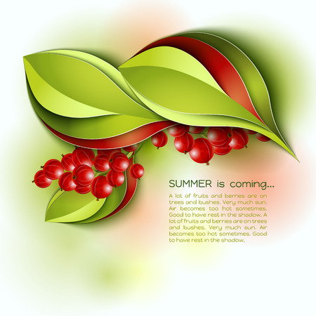 colorful frame: Summer is coming abstract vector background. Red green color leaves and berries. Paper design.