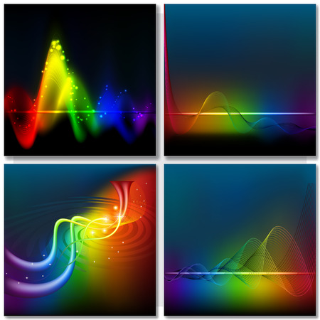 rainbow background: Abstract rainbow on dark wave background