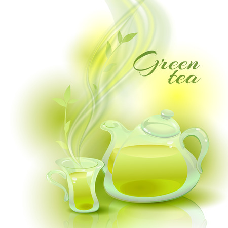 glass cup: Transparent glass teapot and a cup with green tea. Illustration