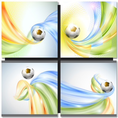 blue ball: Soccer Vector Design. Abstract wave colorful background