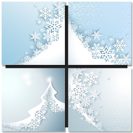 blue wave: Abstract blue wave winter background with snowflakes