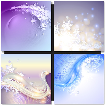 wave abstract: Abstract blue wave winter background with snowflakes