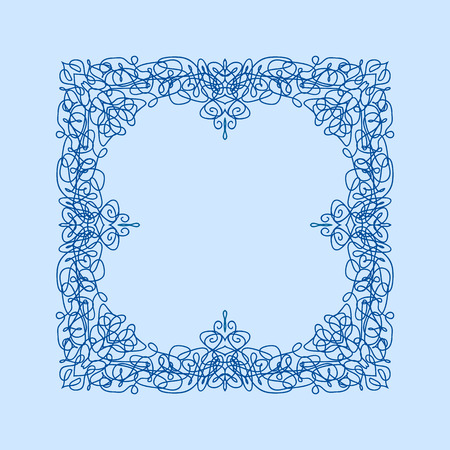 encaje: Abstract vector square ornamental border frame. Lace pattern design. For banner, web design, wedding cards and others