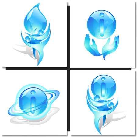information symbol: Icon with symbol blue dancers and information ball