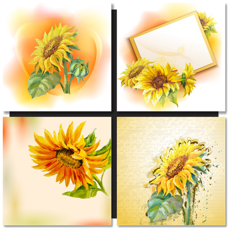 Oil painting Sunflowers Greeting Card. Illustration