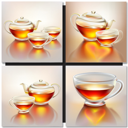 taza de té: Tetera de cristal y taza con té en la mañana la luz del sol