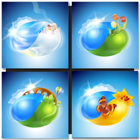 earth globe: Eco concept planet earth nature for each season. Shape yin-yang. Illustration