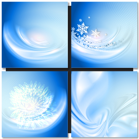 ice: Abstract blue wave winter background with snowflakes