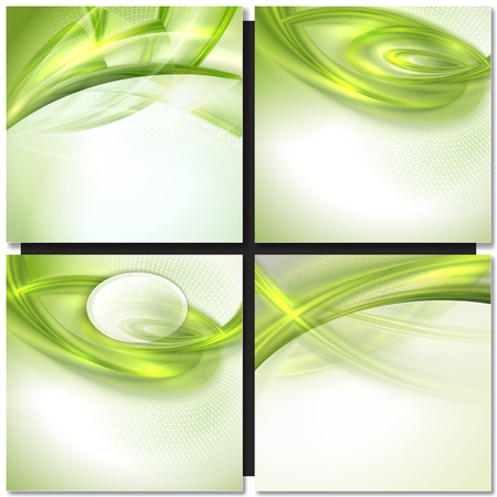 ripple effect: Abstract gray wave background with green elements Illustration