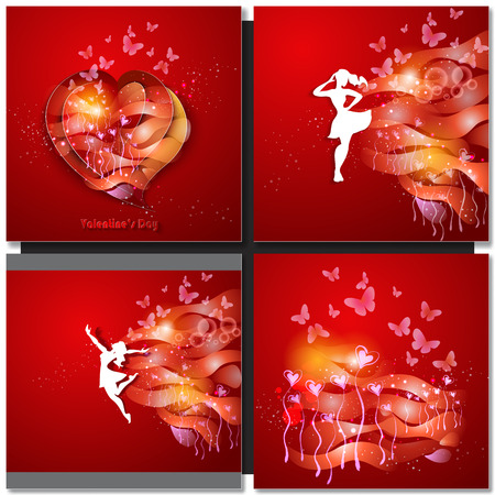 silhouette woman: Valentine Day Greeting Card. Beautiful young woman with flowers. Paper art design.
