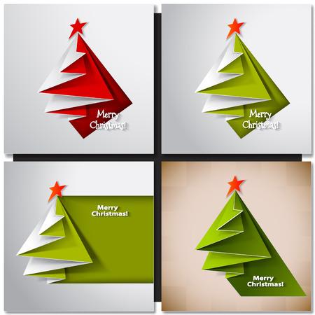 크리스마스 트리 종이 디자인 카드입니다. 벡터 종이 접기