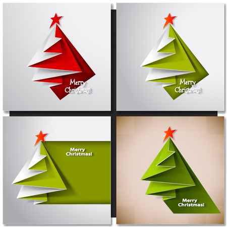 Christmas tree paper design card. Vector origami