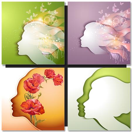 visage profil: Belle jeune femme avec des fleurs Illustration