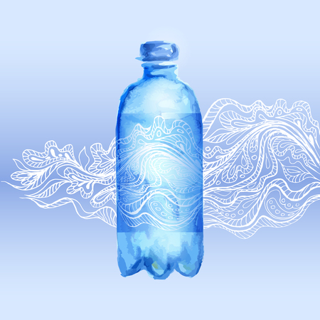 spring water: Transparent watercolor bottle of water with floral pattern doodles. Vector illustration