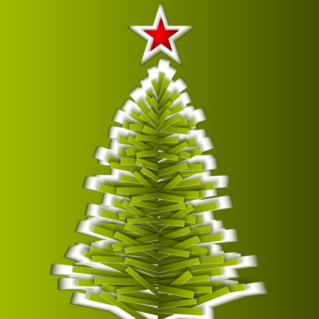 green paper: Green cutout paper vector Christmas tree Illustration