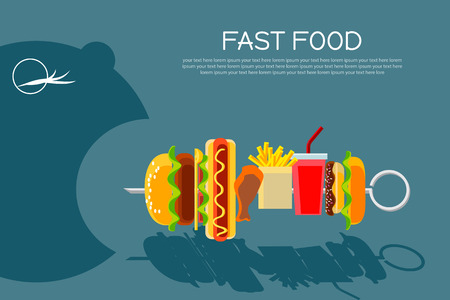 eating food: Fast food concept banner flat design. Cartoon person with opened mouth eating food on skewer