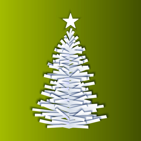 original: Vector christmas tree made from pieces of paper