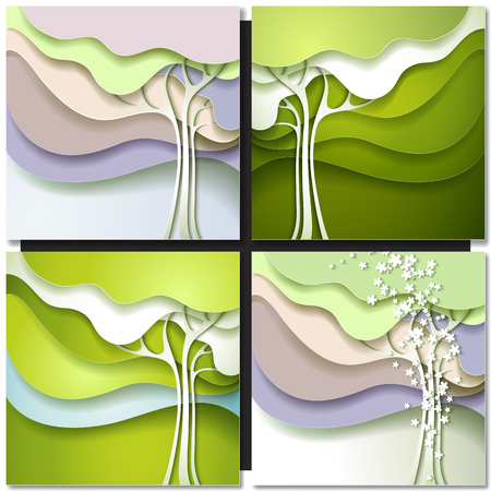 Abstract spring tree. Abstract paper design nature background. Vettoriali