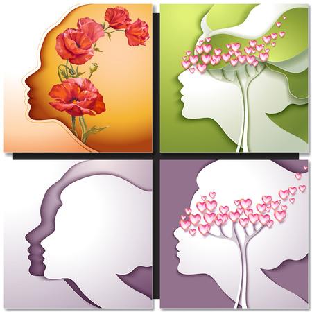Grußkarte. Schöne junge Frau mit Blumen im Haar